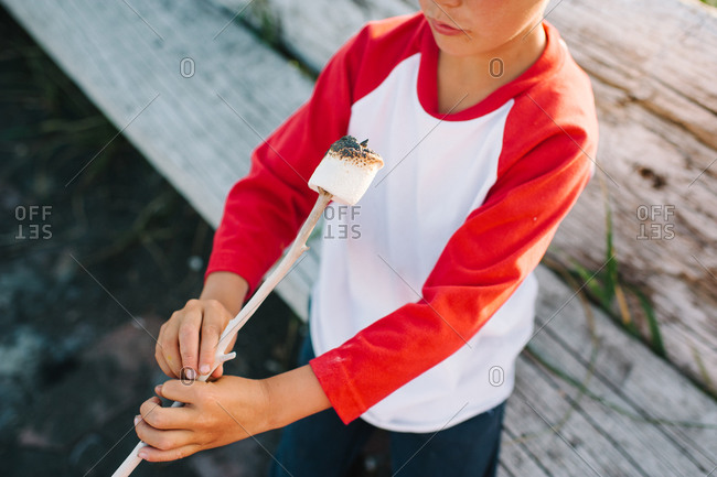 Boy holding a stick with a roasted marshmallow
