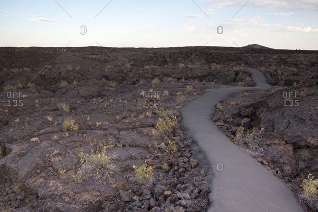 Trail leading through a desert
