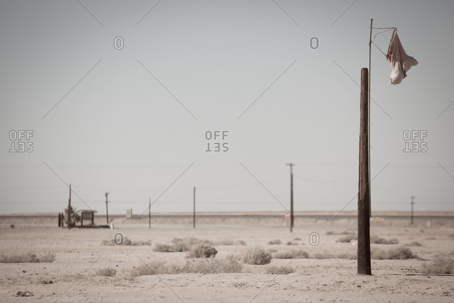 Handmade windsock in a desert