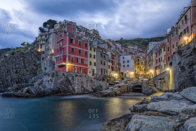 The village of Riomaggiore at dusk, Italy