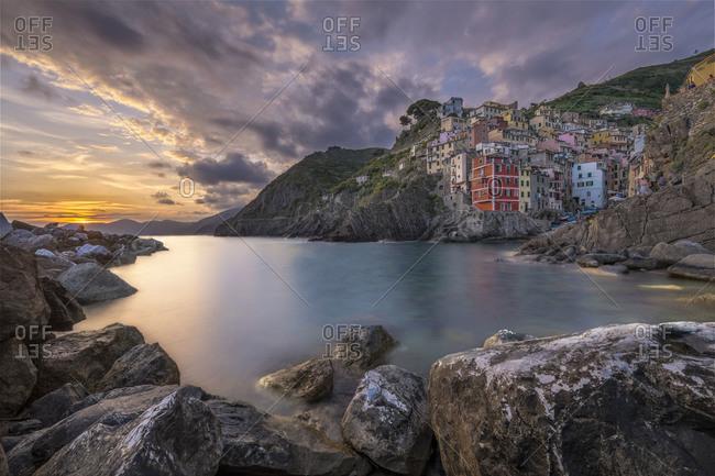 View of fishing village Riomaggiore, Cinque Terre, Italy