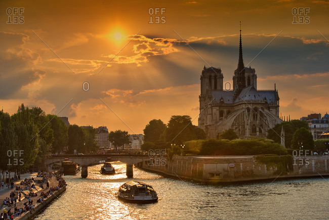 View of the Notre-Dame at sunset in Paris, France
