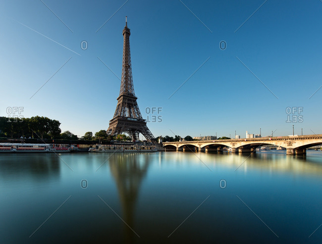 The Eiffel Tower on the bank of the Seine, Paris