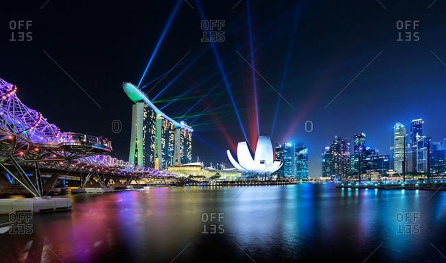 Ground level view of Marina Bay at night, Singapore