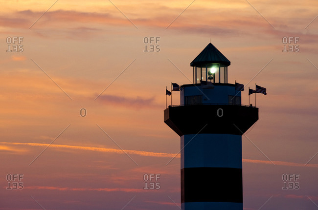 Silhouette of Harbour Town Lighthouse on Hilton Head Island, South Carolina