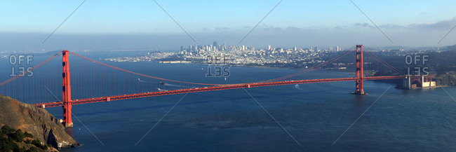Panorama of the Golden Gate Bridge and San Francisco as seen from the Marin Headlands in the Golden Gate National Recreation Area, California