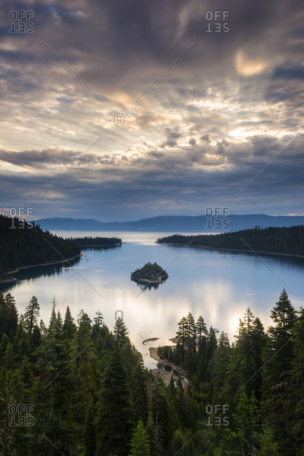 A beautiful sunrise over Emerald Bay and Fannette Island in South Lake Tahoe, California
