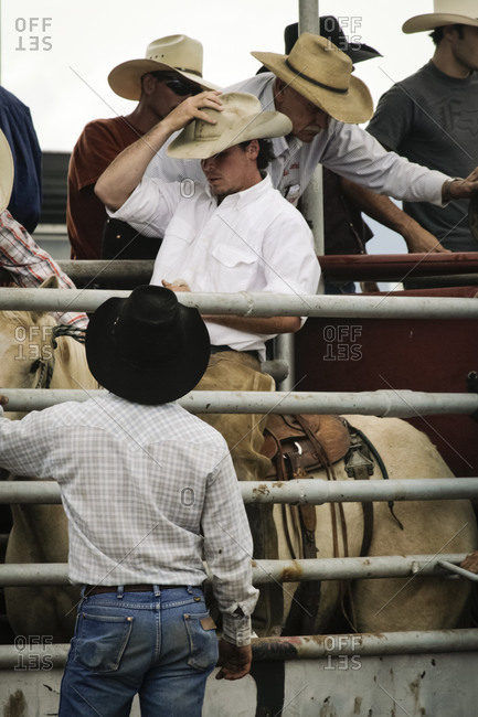 Wagon Mound, New Mexico, USA - September 7. 2009: Bronc rider waits for the chute to open