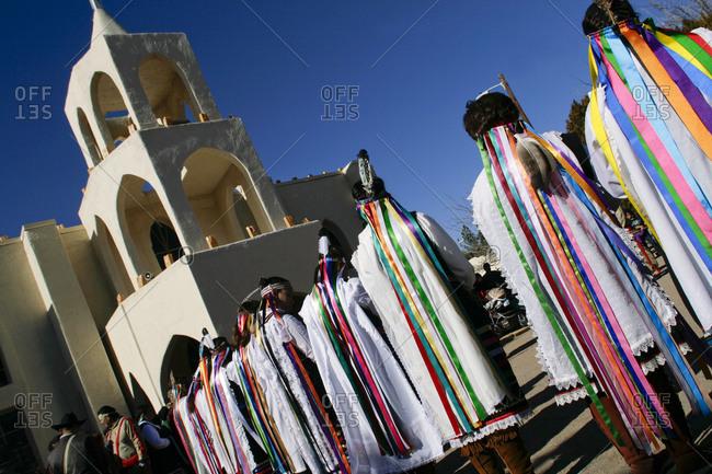 Tortugas Pueblo, New Mexico, USA - December 11, 2009: Matachine Dancers at winter ceremony