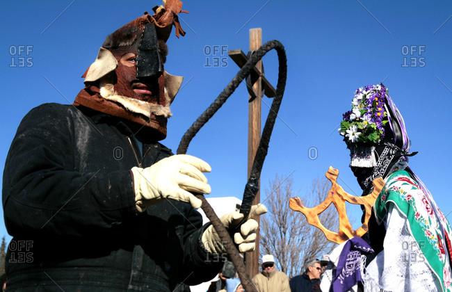 Alcalde, New Mexico, USA - December 27, 2008: Matachine dancers at winter celebration