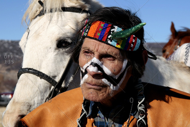 Alcalde, New Mexico, USA - December 27, 2008: American Indian man with a horse