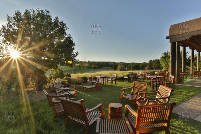 Sun setting over a golf course