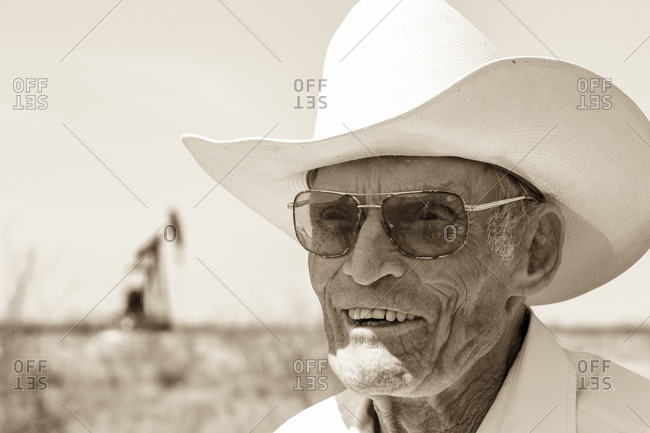 New Mexico, USA - October 6, 2006: Portrait of a legendary rodeo rider