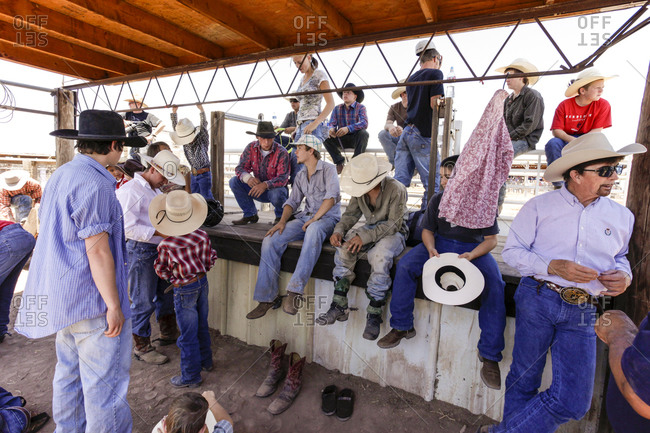Cowboys backstage, getting ready for the rodeo in Galisteo, New Mexico