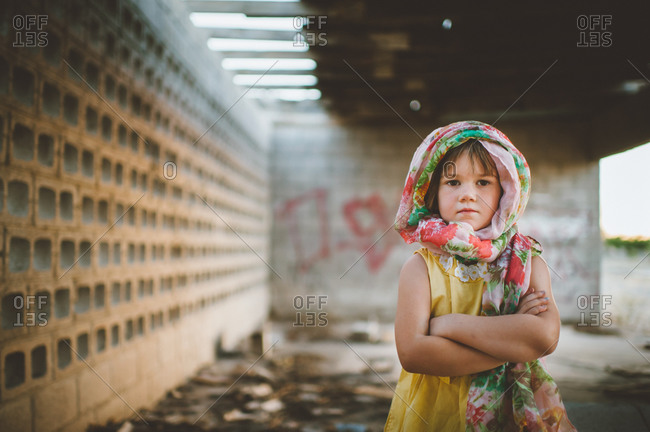 Young girl in headscarf