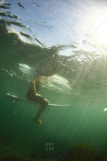 Underwater view of a surfer in green water sitting on top of a surf board.