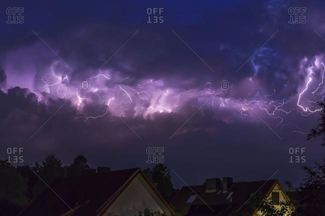 Dramatic night sky at heavy thunderstorm