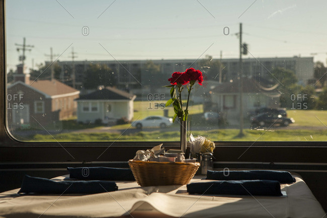 Set table in a dining cart of a train