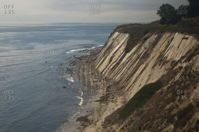 Steep cliff on the coast in California