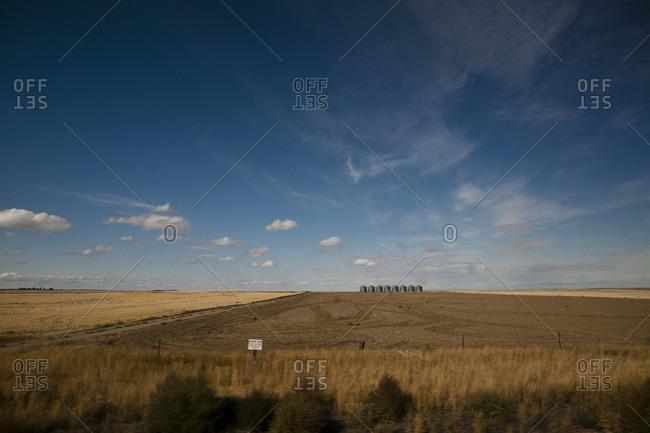 Organic farm in Montana with silos