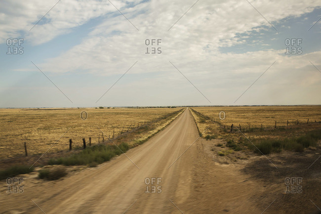 Empty dirt road in the countryside of Colorado, USA