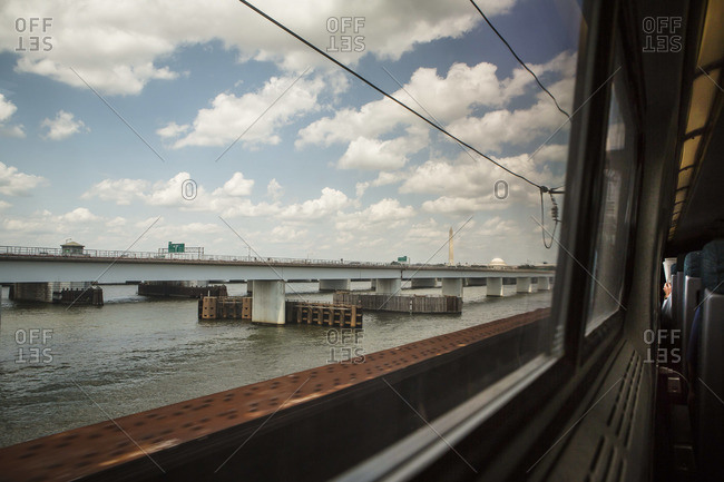View of a bridge from a train in Virginia, USA