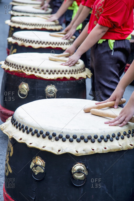 Musicians playing drums at Chinese New Year celebration