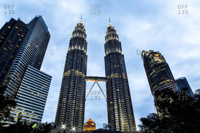 Kuala Lumpur, Malaysia - February 17, 2013: Petronas Twin Towers in Kuala Lumpur skyline, Federal Territory of Kuala Lumpur, Malaysia