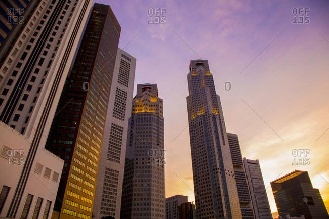 Singapore city skyline and sunset sky, Singapore, Republic of Singapore