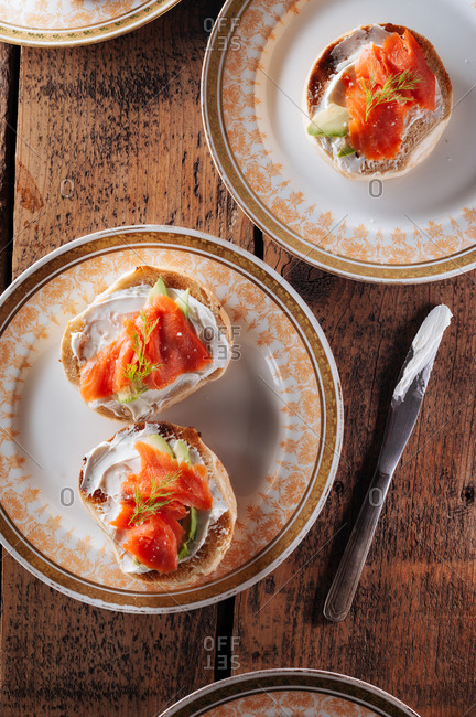 Bagels with cream cheese and lox
