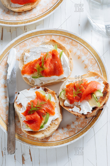 Bagels with cream cheese and brined salmon