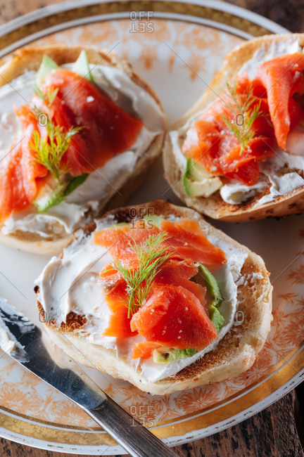 Bagels with lox and avocado