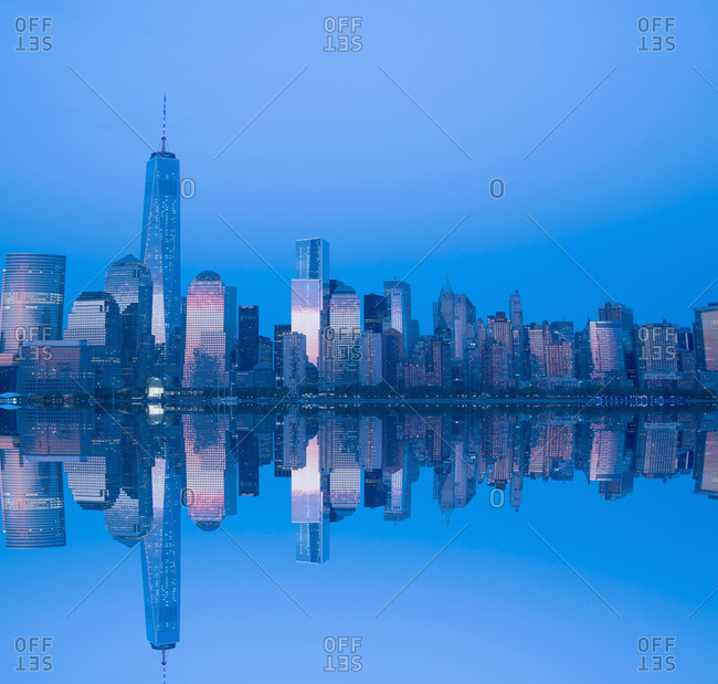 View of Manhattan at dawn in New York City, USA