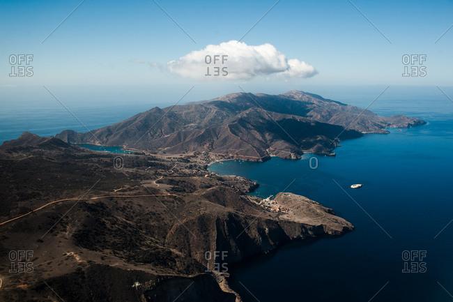 Aerial view of Santa Catalina Island in California, USA
