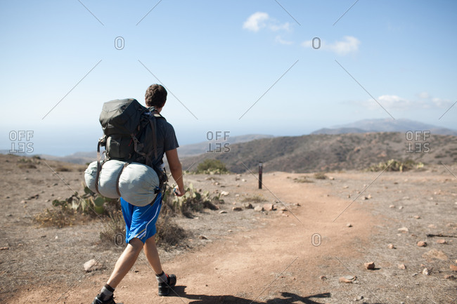 Man hiking in Santa Catalina Island, California, USA