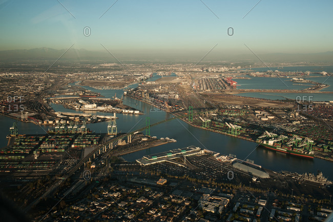Aerial view of Long Beach in California, USA