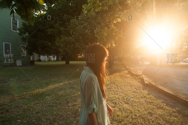 Young woman admiring the sunset in Oklahoma