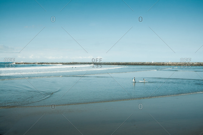 Surfers on beach near San Diego, USA