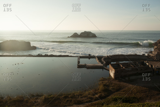 The remains of the structure of the Sutro baths, California, USA