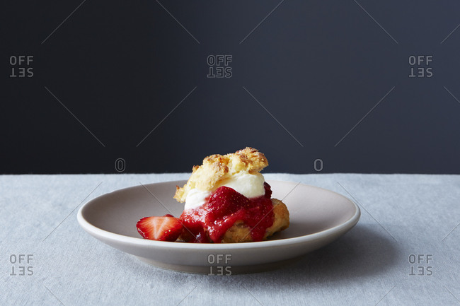Strawberry shortcake served on a plate