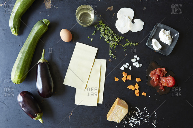 Ingredients for a vegetarian lasagna