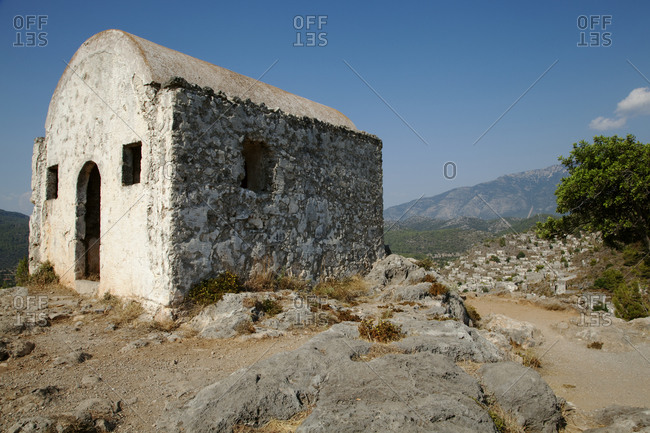 A Greek Christian chapel on a hilltop at Kayakoy, Turkey.