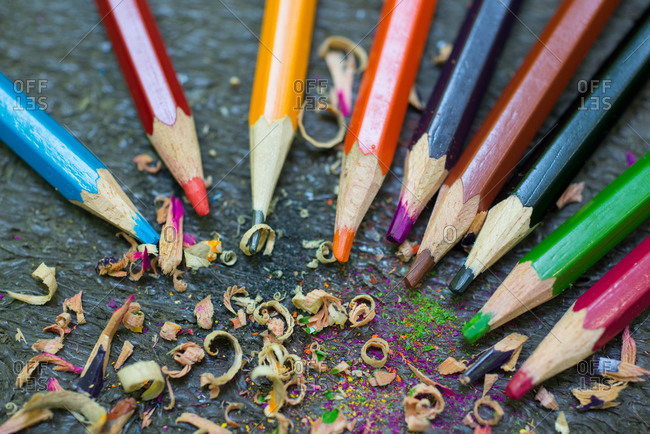 Sharpened colored pencils.