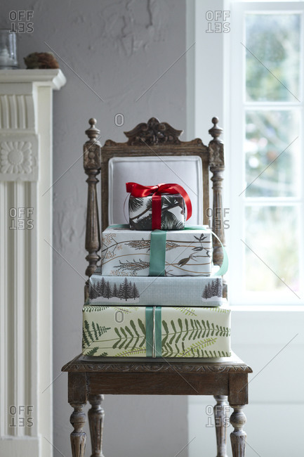 Wrapped gift boxes on a chair