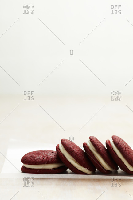Close up of red velvet whoopie pies