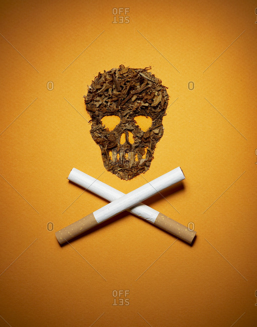 Skull and crossbones formation from tobacco and cigarettes