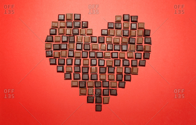 Heart made out of chocolate bonbons