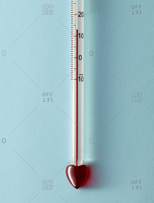 Thermometer with a heart-shaped end