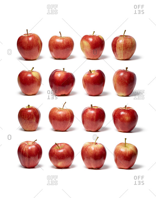 Apples arranged in square format