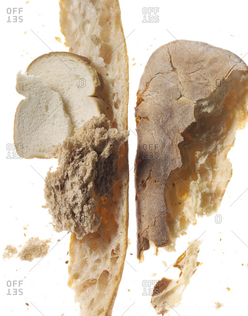 Studio shot of bread fragments